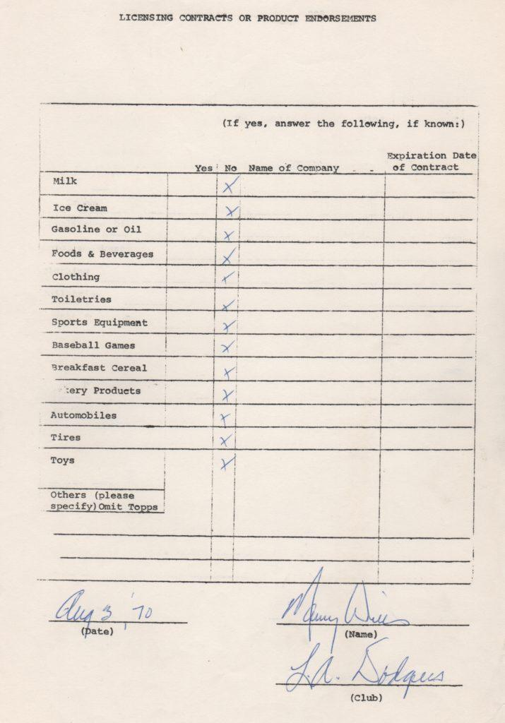 Maury Wills 1970 signed endorsement questionnaire from MLBPA