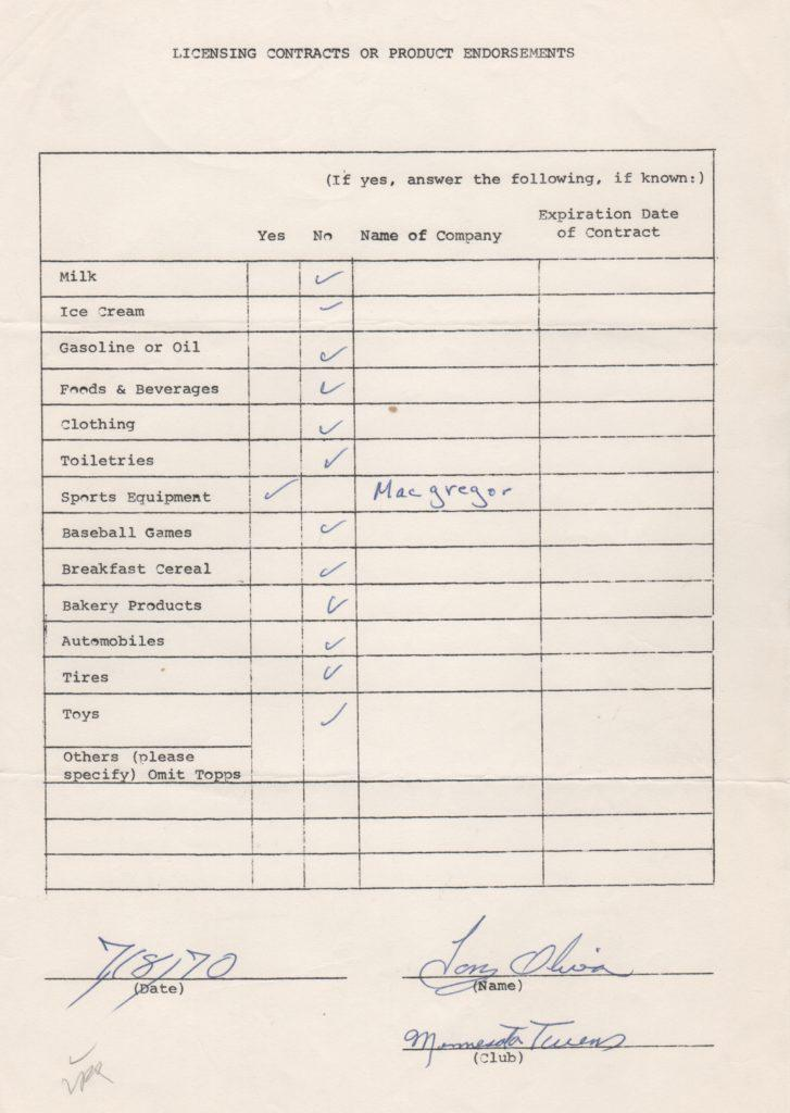 Tony Oliva 1970 signed endorsement questionnaire from MLBPA