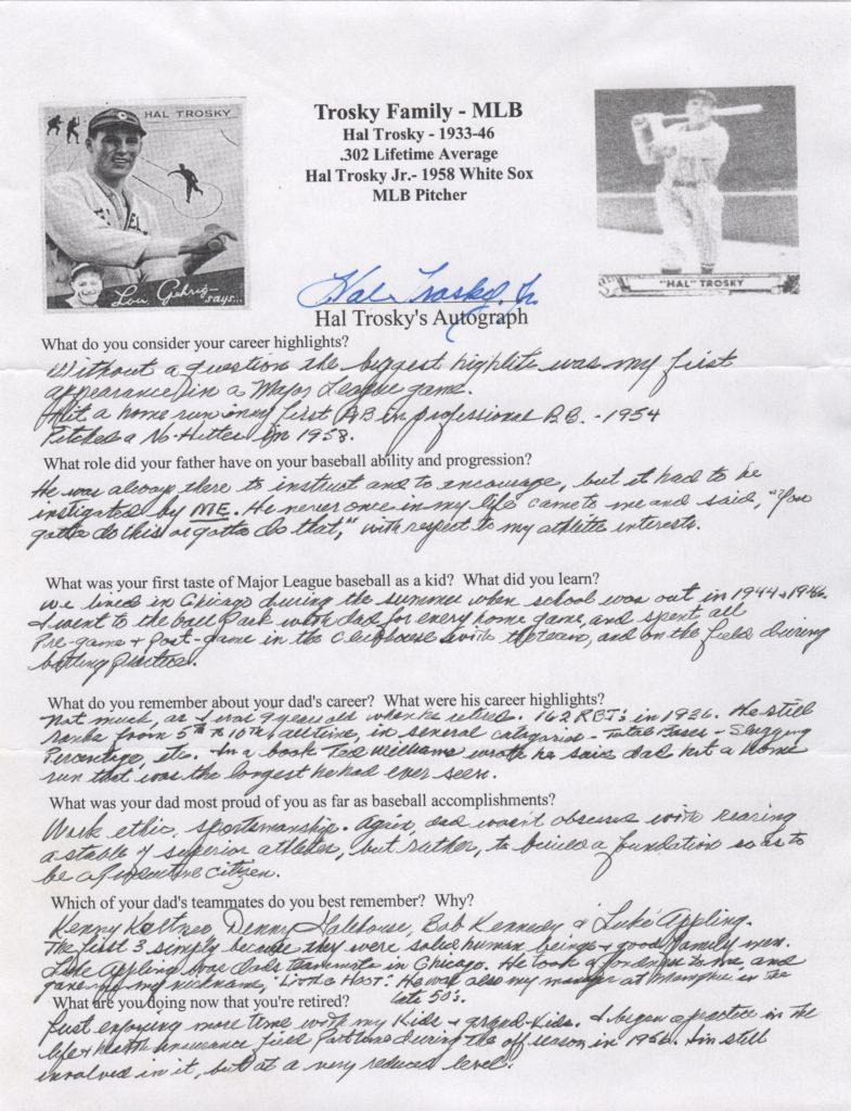 Hal Trosky Jr. signed questionnaire about he and his dad in MLB