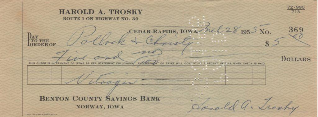 Hal Trosky signed personal check from 1955