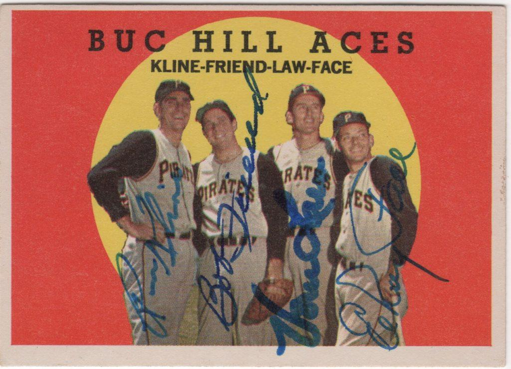 Bob Friend and Pittsburgh pitchers sign this 1959 Topps offering