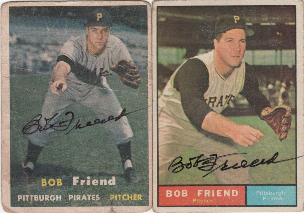 A pair of Bob Friend autographed Topps cards