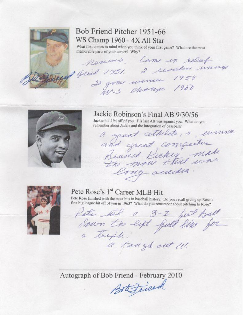 Questionnaire filled out by Bob Friend, the last pitcher Jackie faced