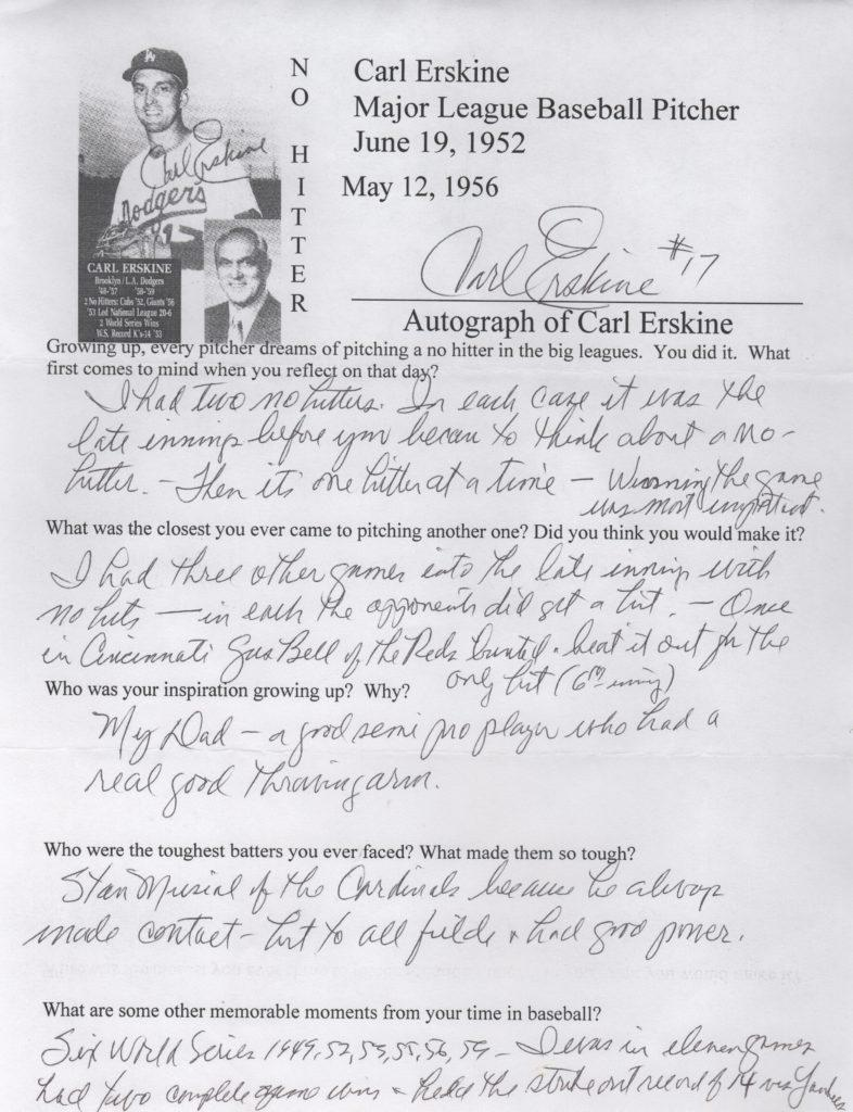 Questionnaire filled out and signed by Carl Erskine about his two no-hitters and his World Series gem