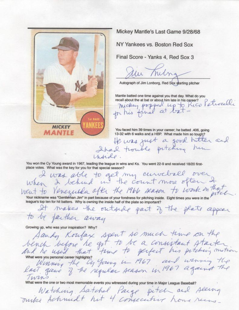 Thoughts from Jim Lonborg, the last pitcher to face Mickey Mantle