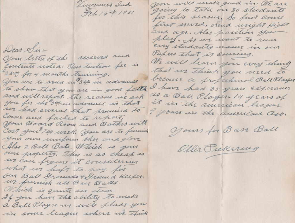 1931 handwritten letter from Ollie Pickering the AL's first batter