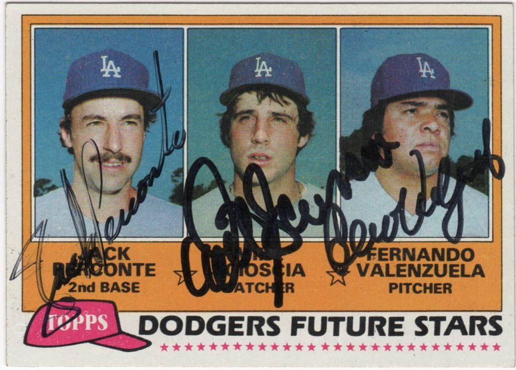 1981 Topps Dodger Future Stars card signed by Fernando, Mike Scioscia, and Jack Perconte
