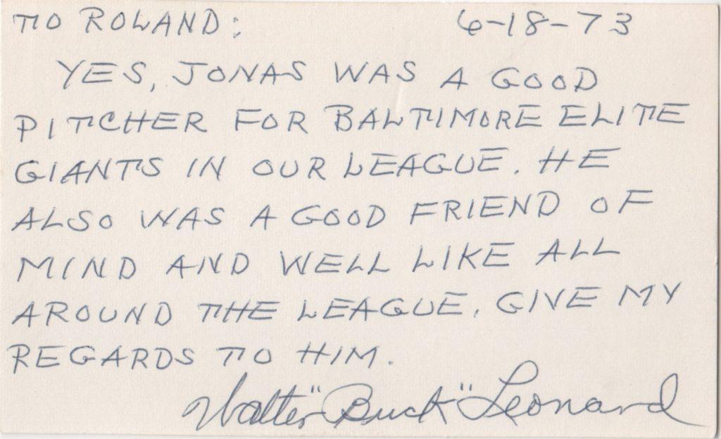 Buck Leonard writes of teammate Jonas Gaines