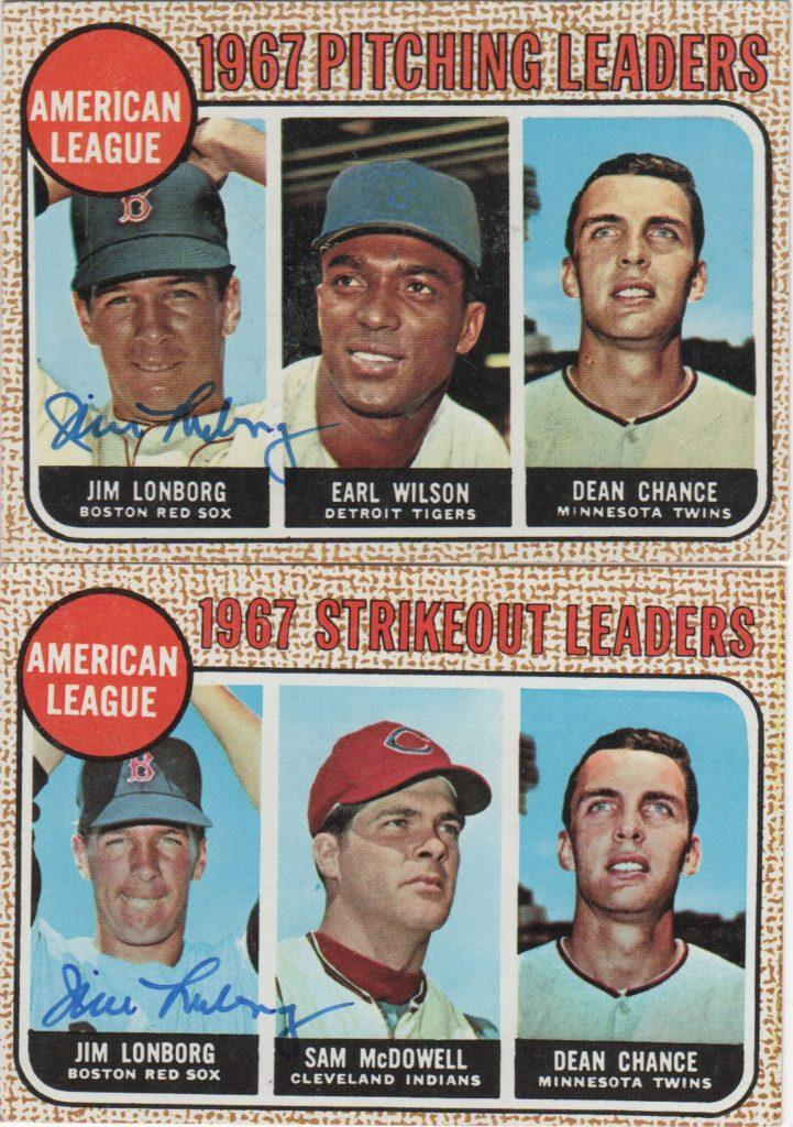 Lonborg led the AL in wins and strikeouts in 1967 -- here are autographed leaders cards