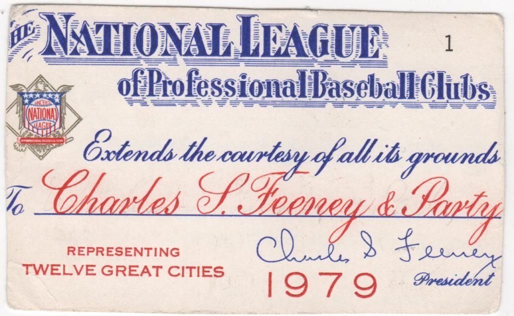 Chub Feeney also received the National League's first pass for '79 - he issued it to himself