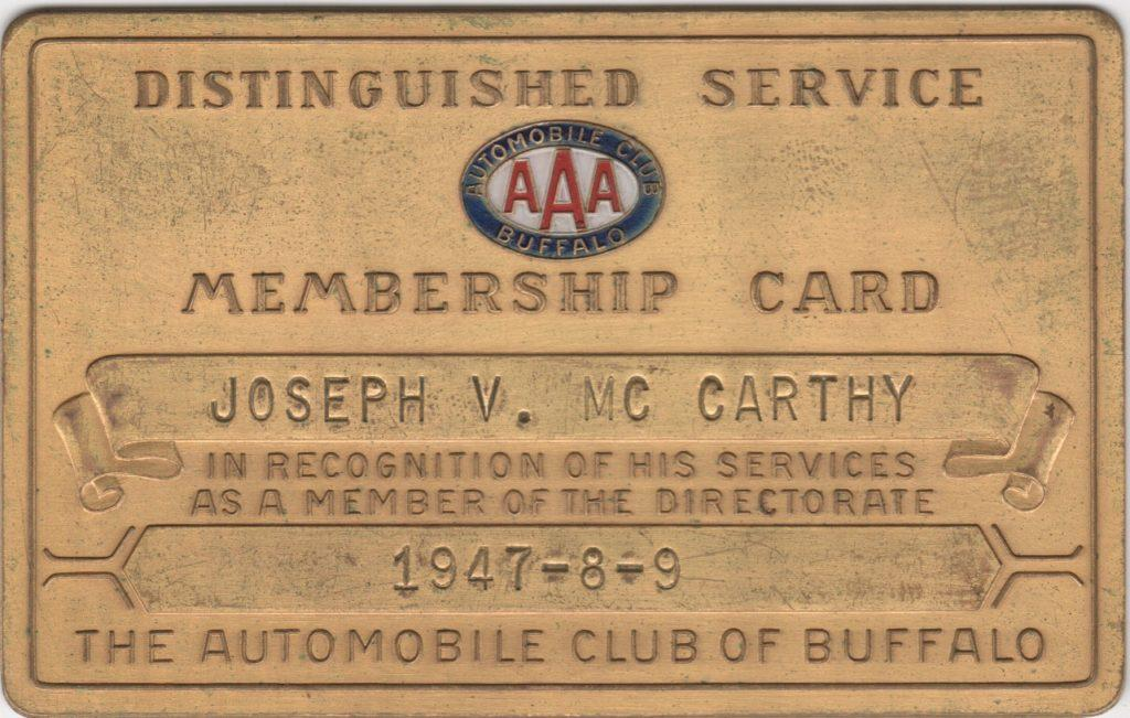 1947-49 Joe McCarthy Distinguished Service Membership Card from the autoclub