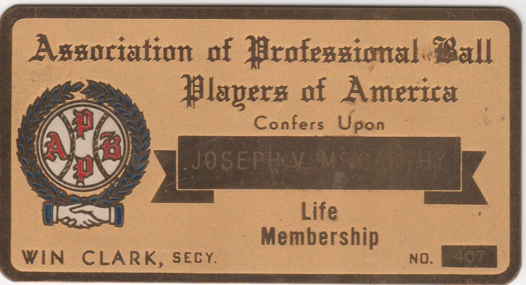 Joe McCarthy's life membership to the Association of Professional Ball Players of America