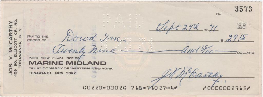 Rare Joe McCarthy personal check dated on the anniversary of departure with Cubs