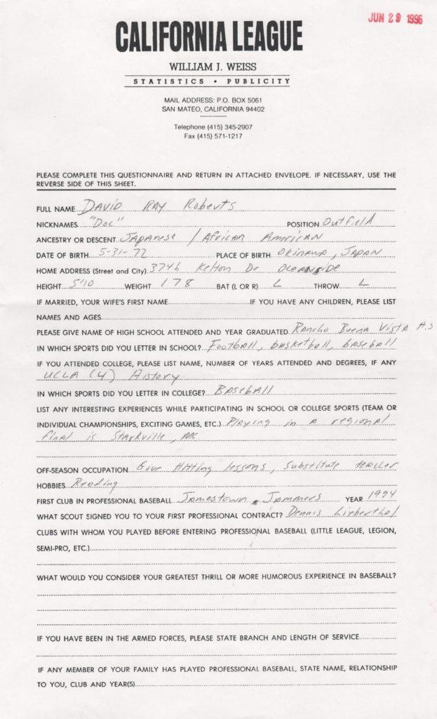 Questionnaire filled out by Dave Roberts three year before his MLB debut