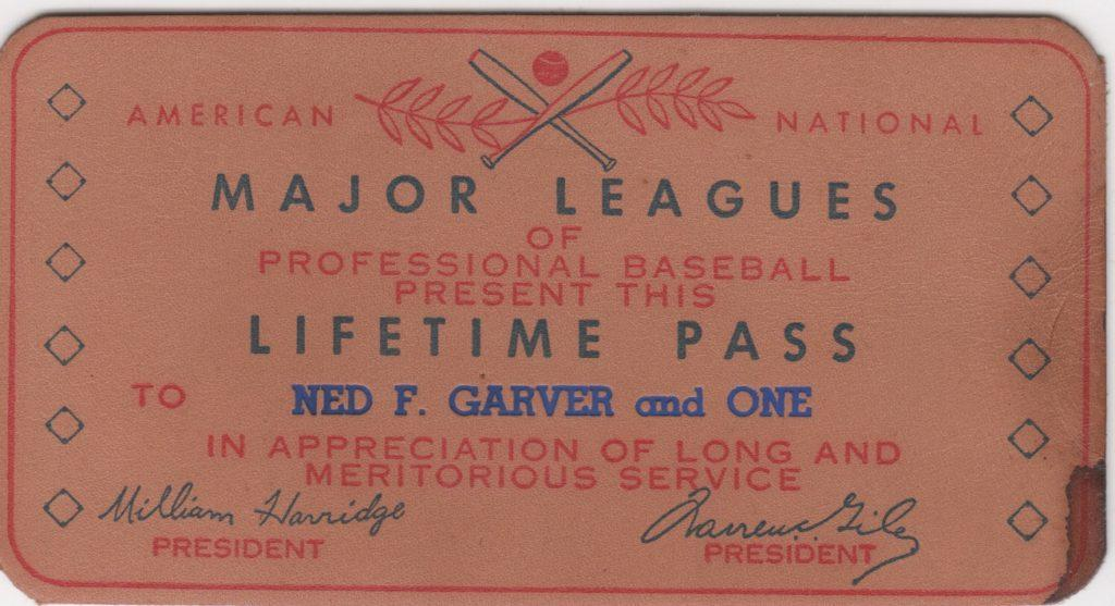 Leather MLB lifetime passes are rarely seen, here's Ned Garver's