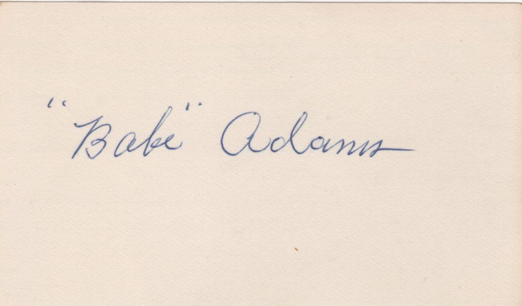 Babe Adams signed 3x5 card