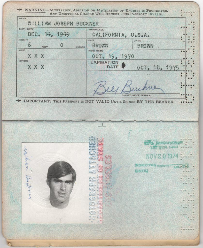 Signature page of Bill Buckner's personal USA passport