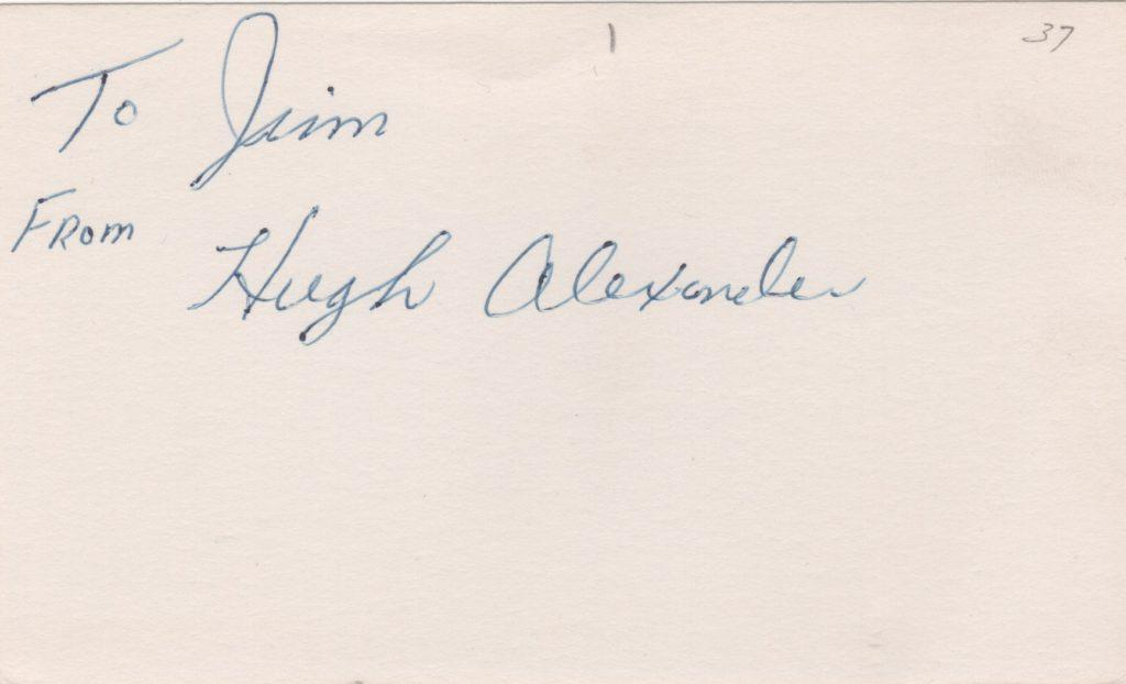 Signed 3x5 card of Hugh Alexander