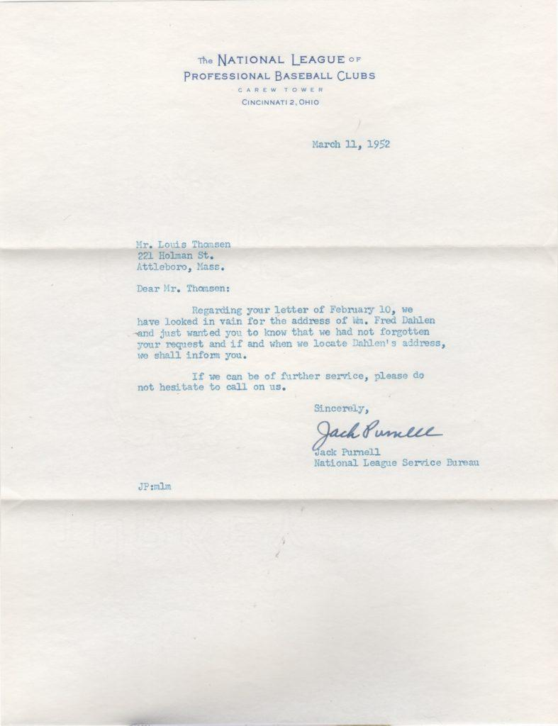 The National League Service Bureau responds to a collector seeking Bill Dahlen's address