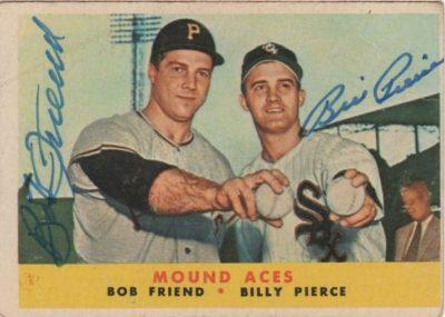 Topps 1958 Mound Aces card signed by Bob Friend and Billy Pierce