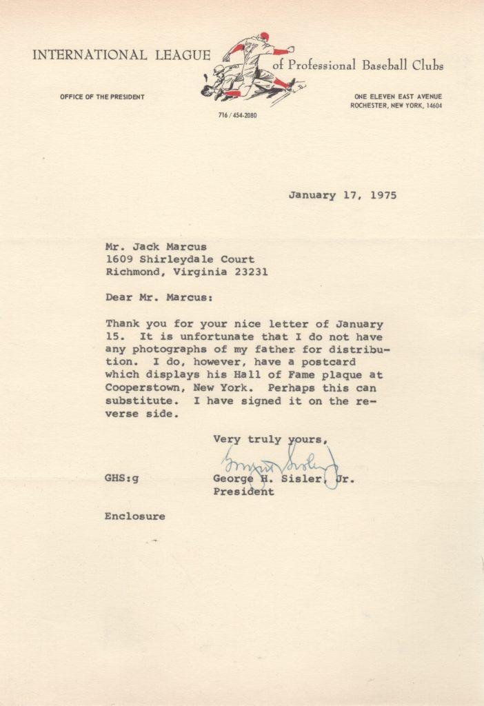 Letter from George Sisler Jr. responding to Jack Marcus' request for pictures of Sisler Sr.