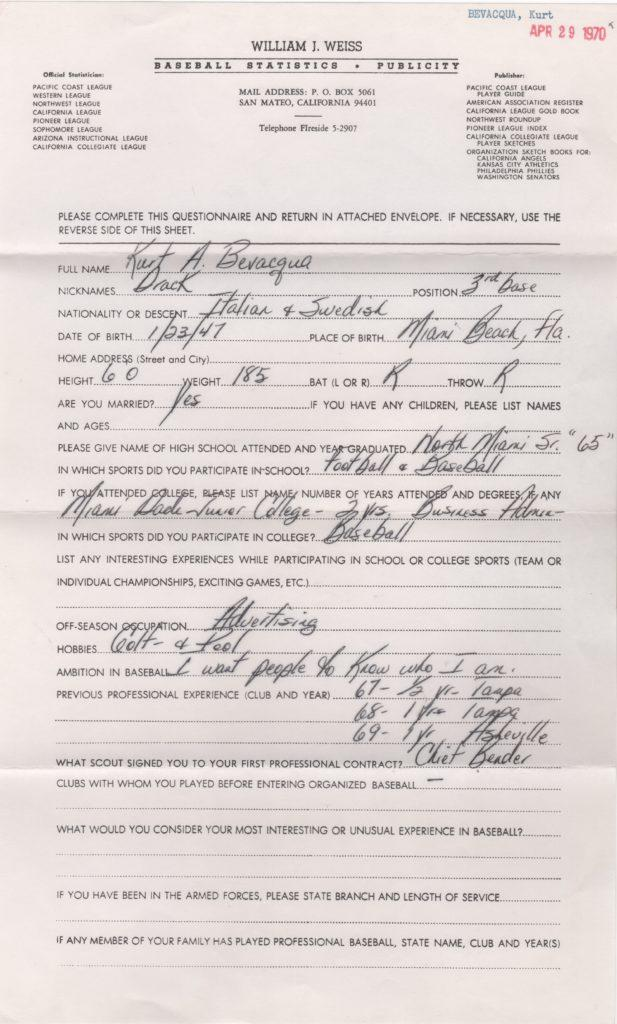 Questionnaire filled out by Kurt Bevacqua a year before his MLB debut