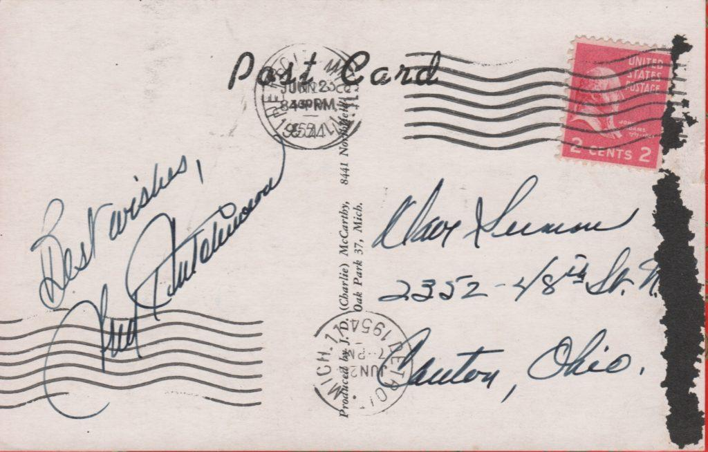 Signed postcard postmarked 1954 from Detroit, Michigan