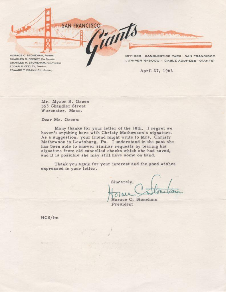 Horace Stoneham letter to a collector who requested Christy Mathewson's autograph