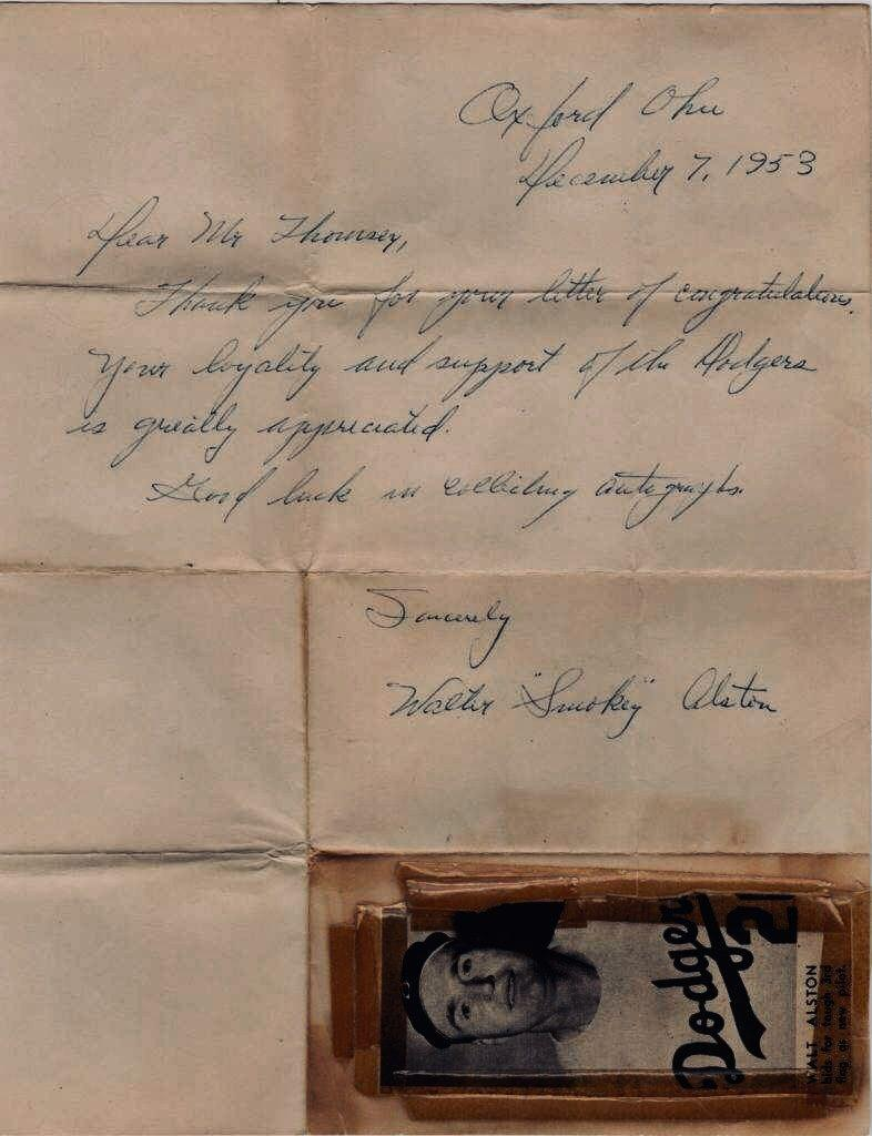Walt Alston handwritten letter dated 12/7/53 - four months before his MLB managerial debut