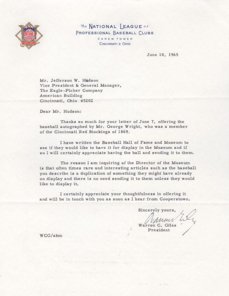 NL chief and HoFer Warren Giles writes about a George Wright single-signed baseball