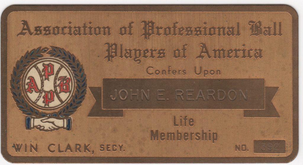 Beans Reardon's Association of Professional Ball Players of America Lifetime Pass