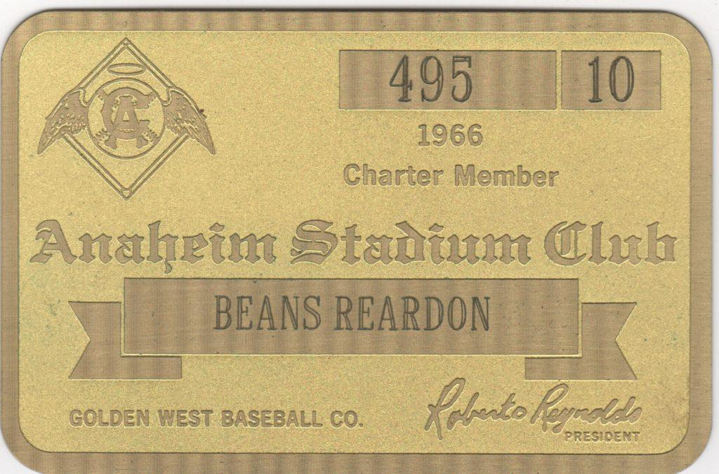Beans Reardon was a charter member of the Anaheim Stadium Club in 1966; here's his pass