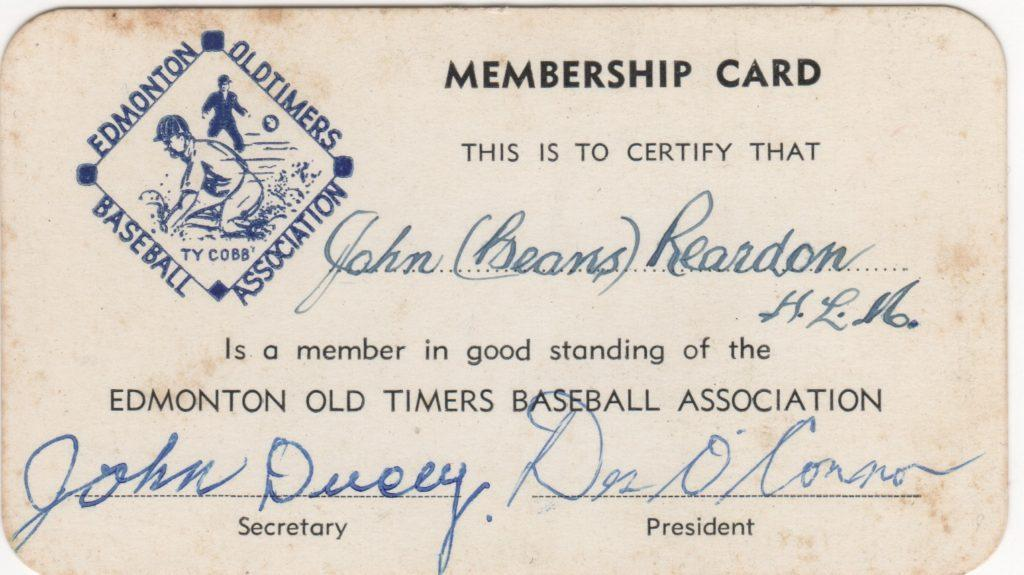 Beans Reardon's Edmonton Old Timers Baseball Association membership card