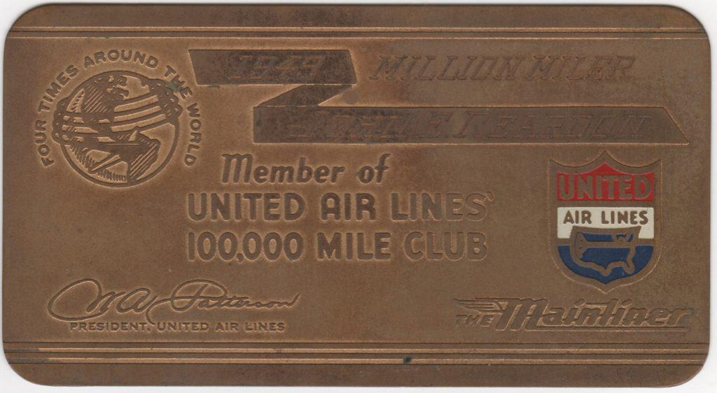 United Air Lines Million Miler membership card issued to Beans Reardon in 1949