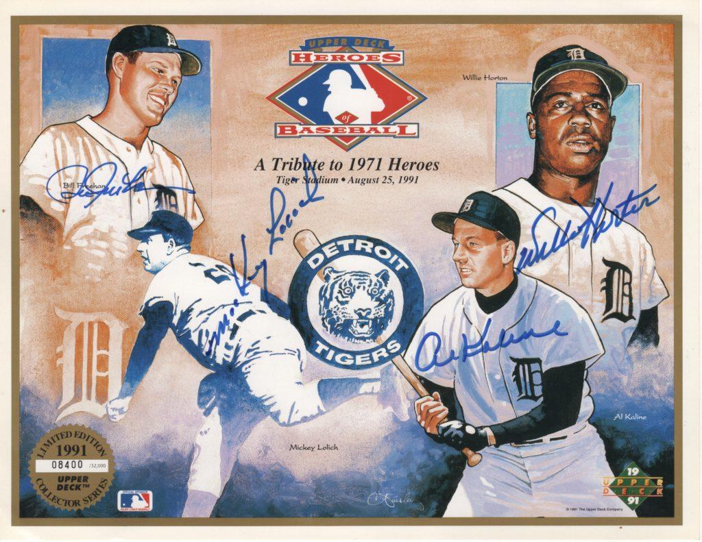Al Kaline autograph with those of Lolich, Freehan, and Horton.
