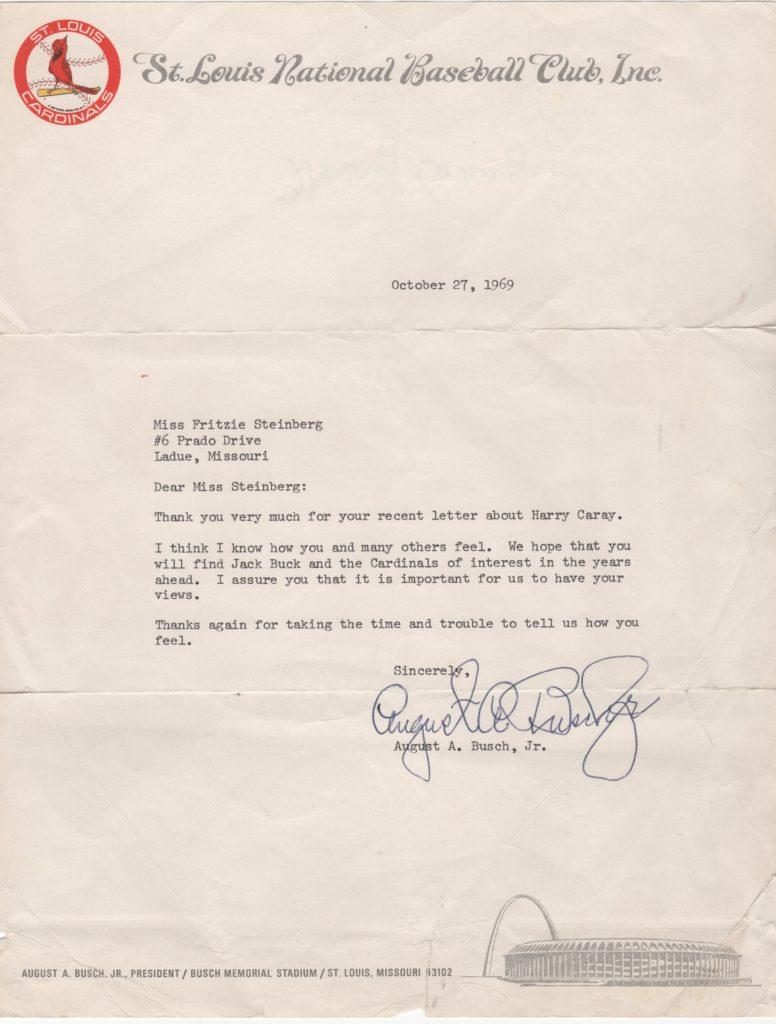 Gussie Busch fired Harry Caray after rumored affair with his daughter-in-law; three weeks later he wrote this letter