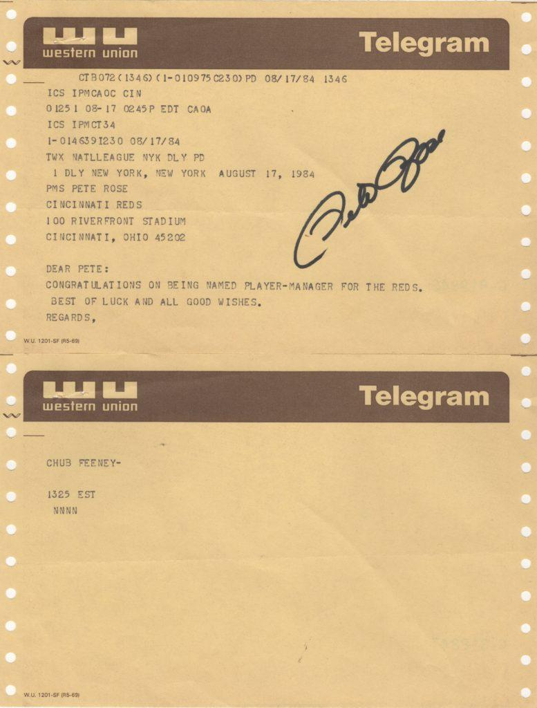 NL Prez Chub Feeney telegram congratulating Pete Rose on being named player/manager of the Reds