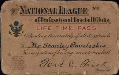 Lifetime AL hurler Stan Coveleski received this pass from the NL