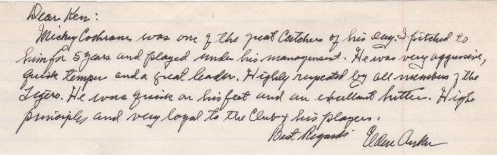 Elden Auker writes about his catcher and manager Mickey Cochrane