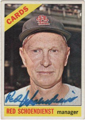 Autographed Red Schoendienst 1966 Topps card