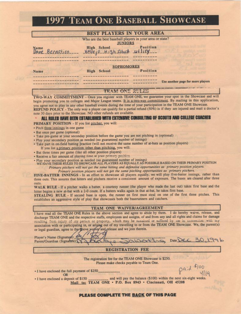 Back of the showcase contract featuring signature of 17-year old CC Sabathia