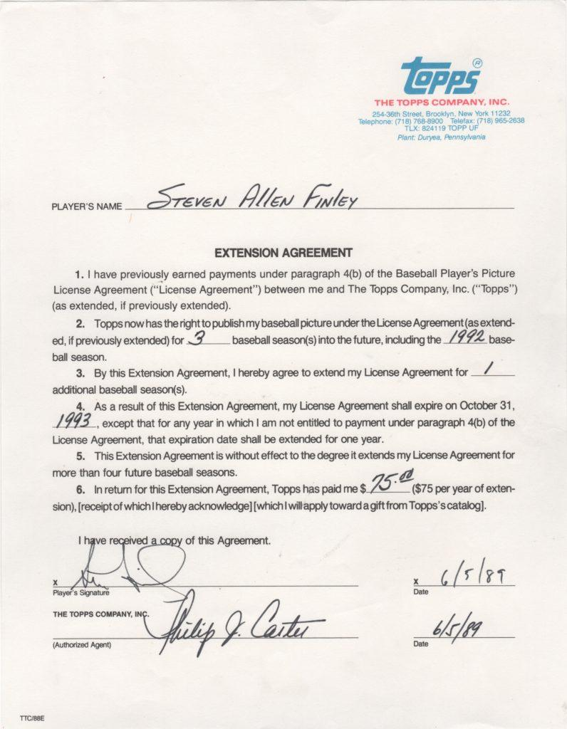 Steve Finley signs his first Topps contract extension two months after his MLB debut in 1989