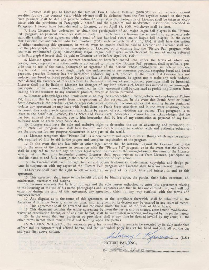 Back side of contract signed by Harvey Kuenn
