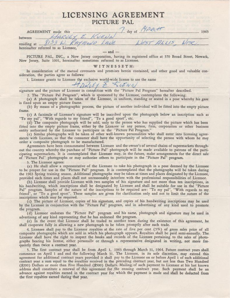 1963 Picture Pal contract with Harvey Kuenn