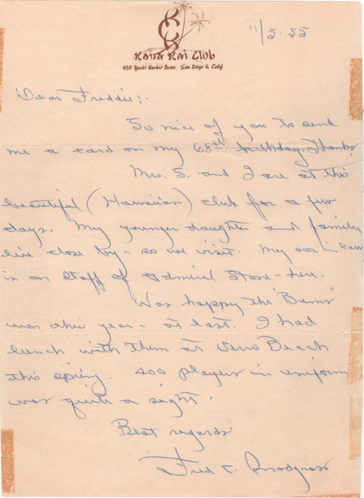 Fred Snodgrass 1955 handwritten letter - he's glad the Bums won the World Series