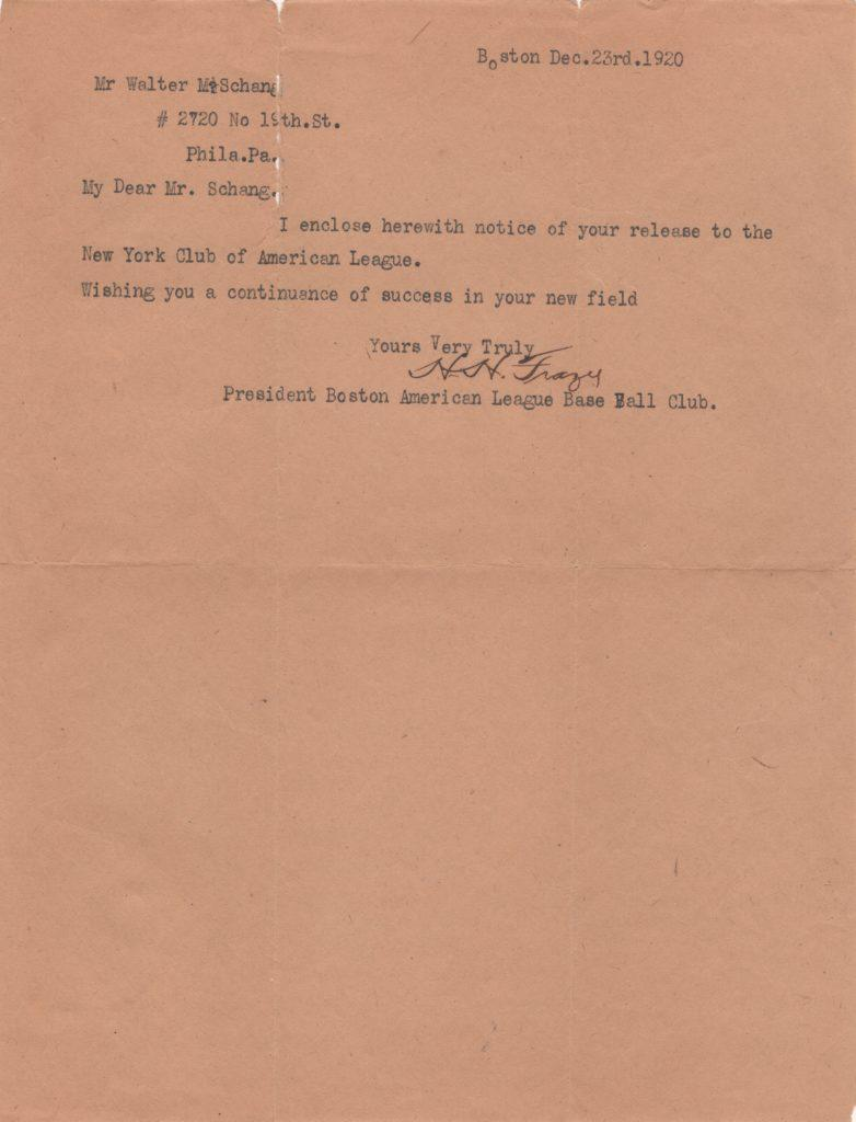 Harry Frazee writes to catcher Wally Schang enclosing his release to the Yankees