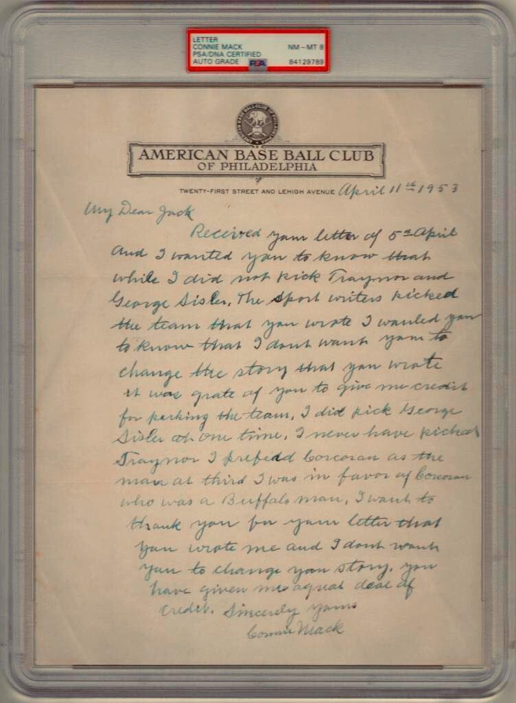 Stunning Connie Mack handwritten letter with mention of Pie Traynor and George Sisler
