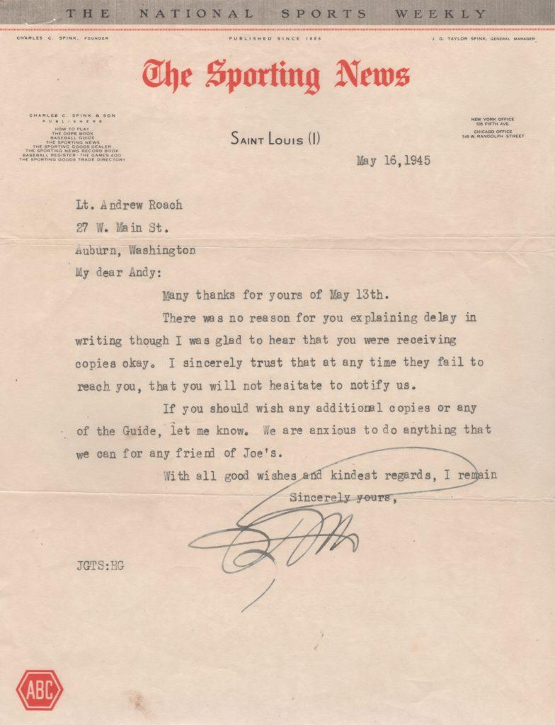 JG Taylor Spink's second letter to Lt. Andy Roach