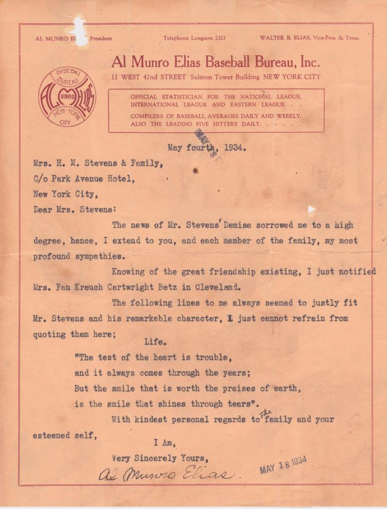 Al Munro Elias and his brother established the Elias Sports Bureau in 1913