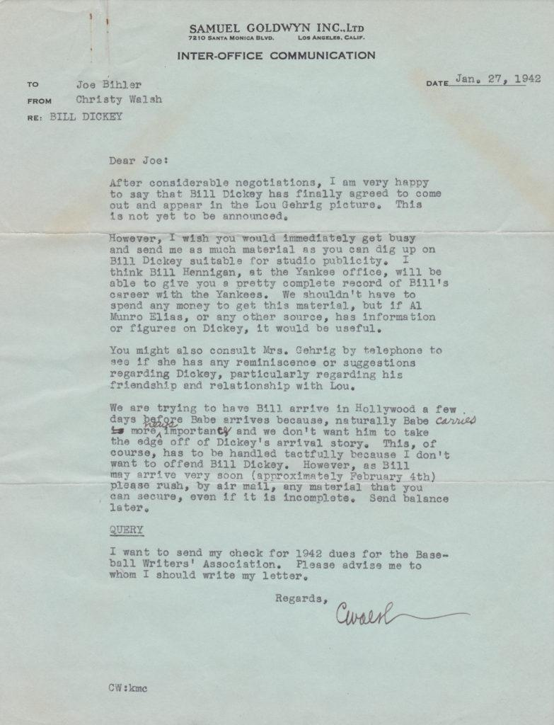Chisty Walsh writes to his assistant about Bill Dickey and Babe Ruth appearing in Pride of the Yankees